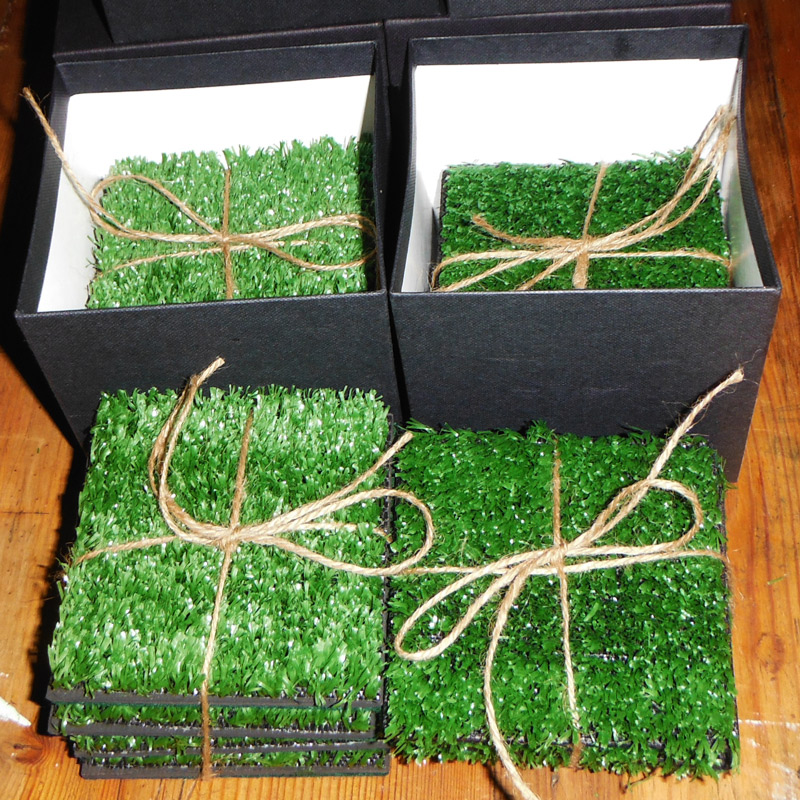 fake grass coasters