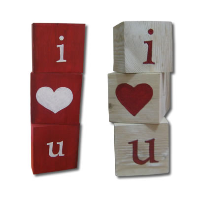 recycled wooden valentines blocks
