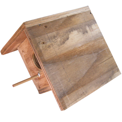 recycled wooden birdhouse